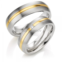 Elegant luxury handmande custom Gold Plating Inlay health titanium pair Wedding bands Couples Rings for men and women