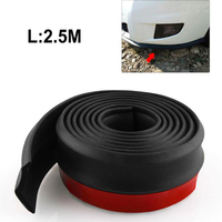 2.5M Car Rubber Front Shovel Bumper Skirts Protector Anti Collision Strip Styling Mouldings Sticker Universal Use Black
