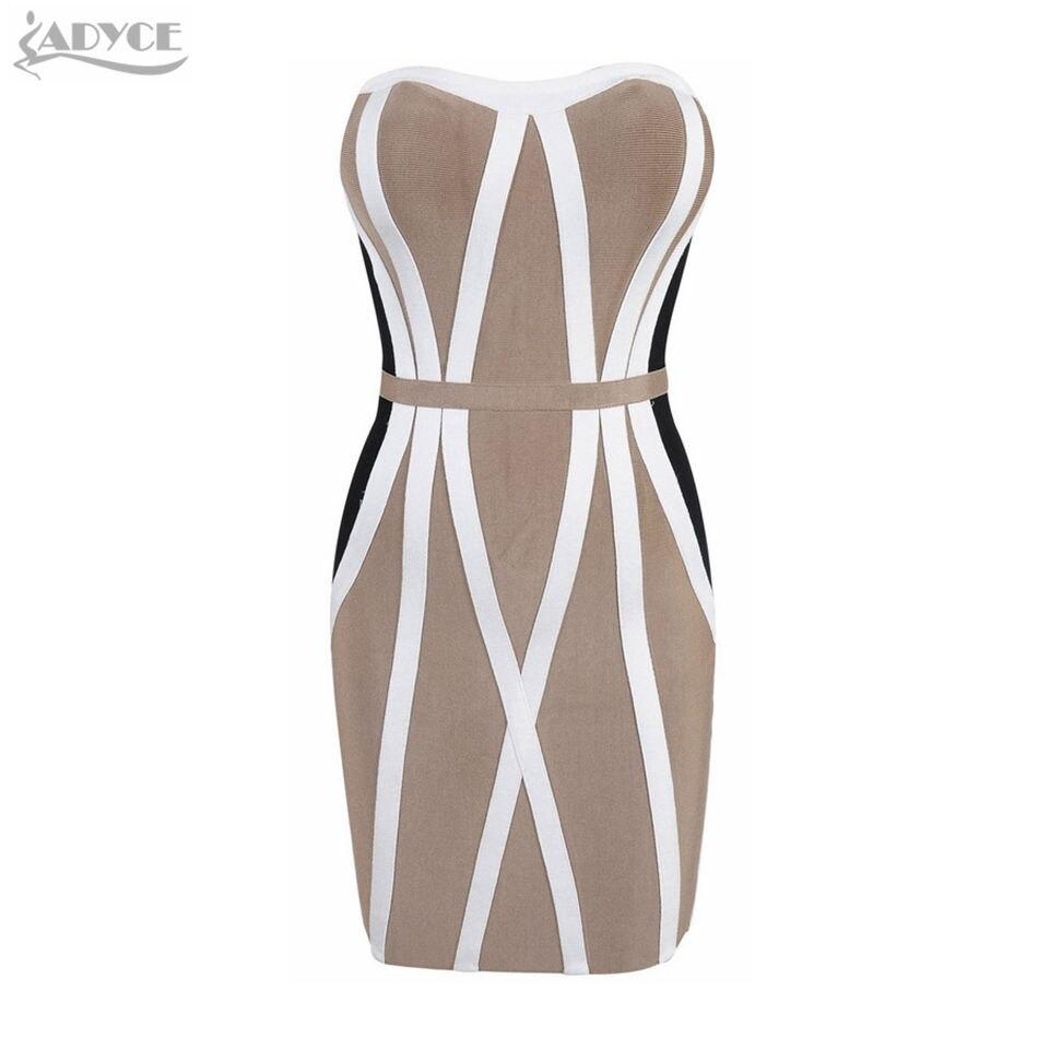 ADYCE 2018 New Summer Bandage Dresses Sexy Women Strapless Khaki White Patchwork Party Dress Club Wear Casual Vestidos Wholesale