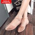 2017 Mulheres Sandálias de Verão Estilo Bling Bowtie Moda Peep Toe Sapatas da geléia Sandália Flat Shoes 2 Cores Frete Grátis CC-016