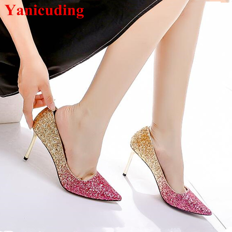 New Women Pumps Thin Heel Pointed Toe Sequined Cloth Slip On Shoes Sexy Wedding Party Star Runway Stiletto Shiny  Zapatos Mujer famiaoo women pumps chaussure femme black gray zapatos mujer tacon high heel 2017 pointed toe thin heel ladies pumps women shoes