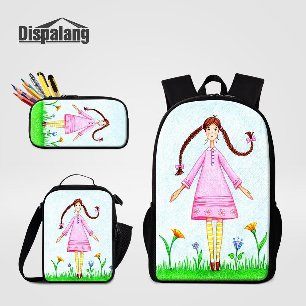 3 PCS Bags Set Ballet Cute School Backpack Lunch Cooler Pencil Case For Student Girls Portable Food Bag Women Daily Schoolbags