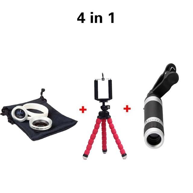 Nuevo 2in1 Lente 4en1 Cámara de 8X Lente Del Telescopio con Trípode Flexible 0.67x lente gran angular lente de marco para iphone 5 6 para Smartphone