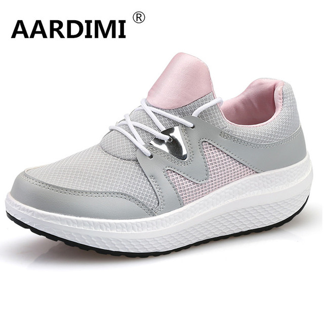 HOT 2017 designer breathable casual women shoes height increasing spring slip on mesh air platform shoes women creepers