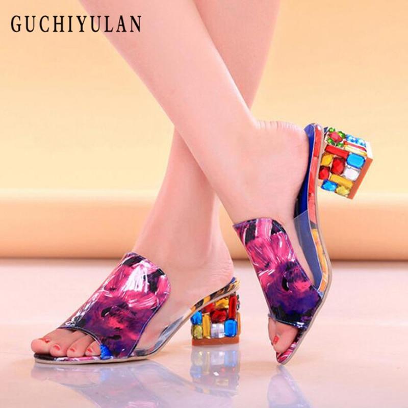 escarpins femme 2018 Women platform sandals sexy Crystal Clear high heels pumps party wedding thick sandals shoes ladies slipper