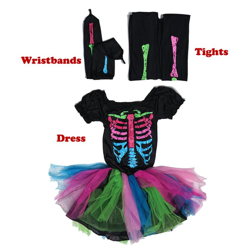 Skeleton Halloween Costume For Girls Kids Funky Punky Bones Costume Baby Child Rainbow Skull Cosplay Tutu Fancy Dress Costume
