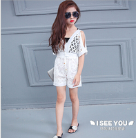 2016 summer new children's wear white gauze girl suit hollow out leakage shoulder to shoulder dress lace suits