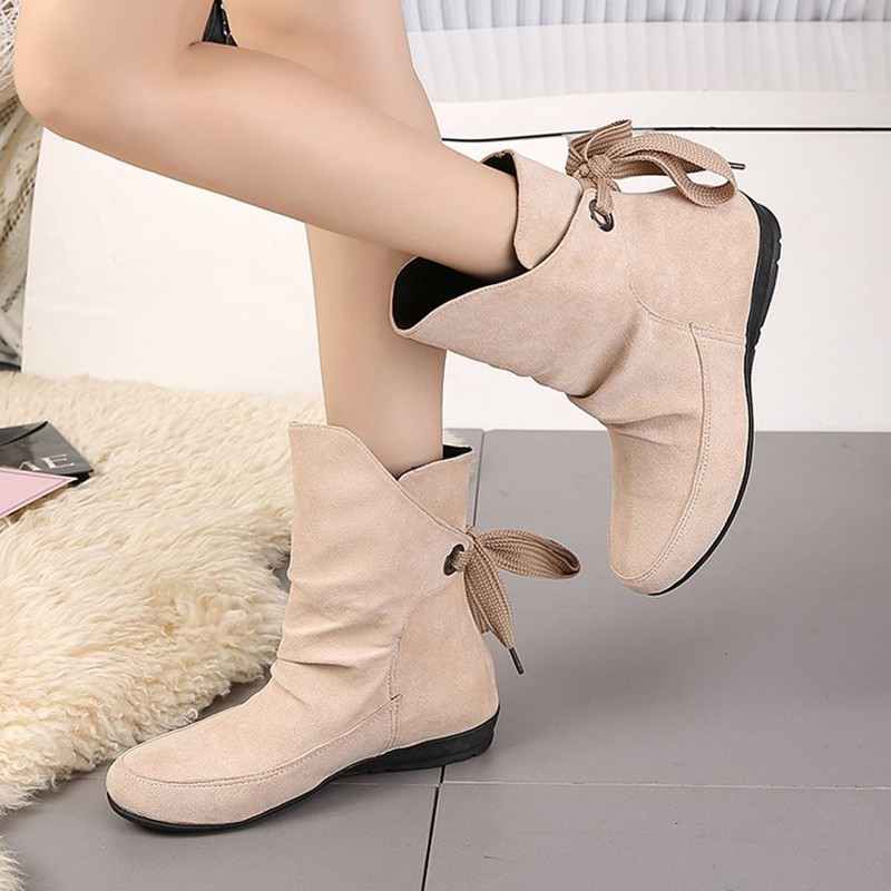 COOTELILI Plus Size Ankle Boots For Women Shoes Lace-Up Ladies Shoes Fashion Rubber Boots Women Winter Shoes Red Black 41 42 43  (1)