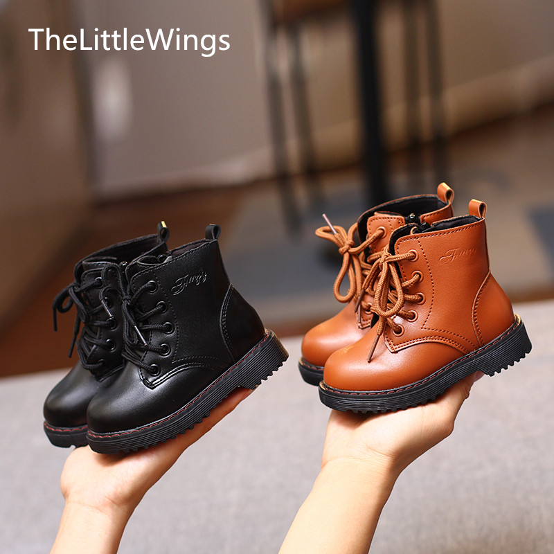 Autumn 2019 Fall New Girl's Fashion Shoes Comfortable Non-slip Cool Boys Martin Boots Korean Version Of The British Style