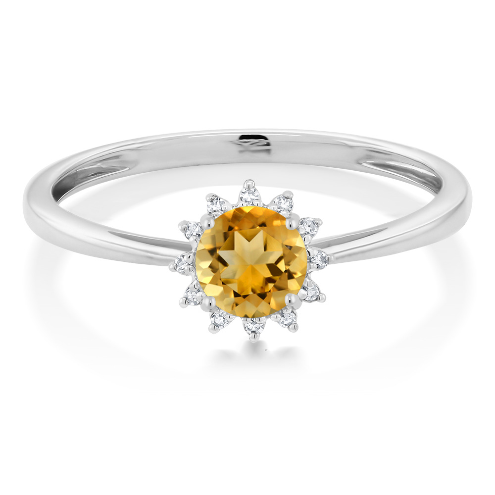 US $166 99 |Gem Stone King Beautiful Sun Flower Design 10K White Gold Round  Yellow Citrine Diamond Ring-in Rings from Jewelry & Accessories on