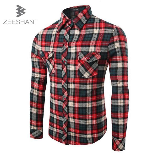 ZEESHANT Flannel Men Plaid Shirts 2017 New Autumn Luxury Slim Long Sleeve Brand Formal Business Dress Warm Plaid Shirts