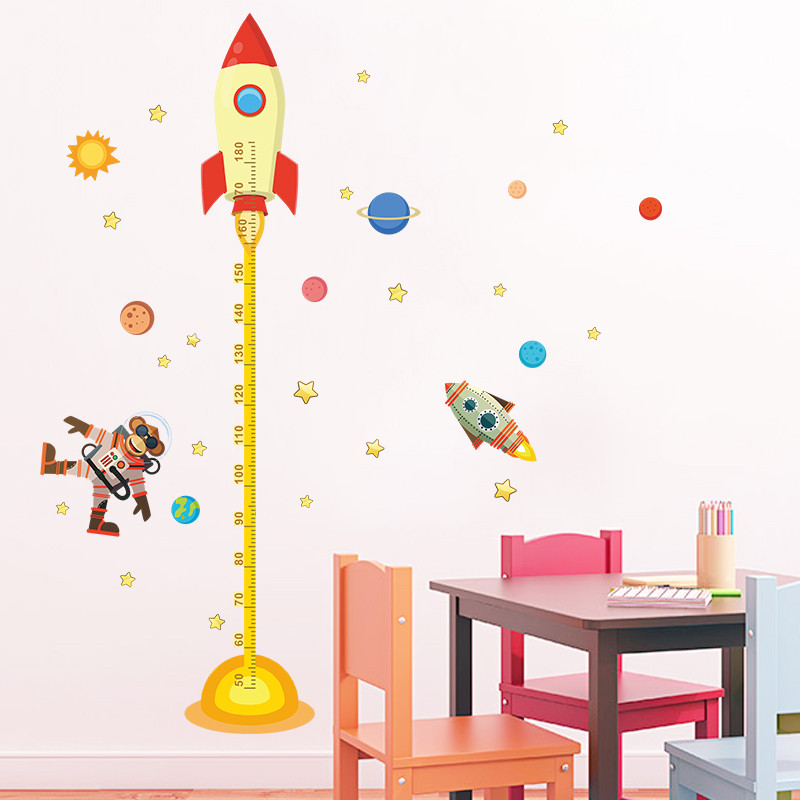 Aliexpress.com : Buy Diy Outer Space Planet Monkey Pilot Rocket Home Decal  Height Measure Wall Sticker For Kids Room Baby Nursery Growth Chart From  Reliable ... Part 66