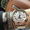 Newest Brand Men Bracelets,Micro Inlay Zircon Beads  & 7mm Zirconia Beads Braiding Men Macrame Bracelets High Quality Bangle
