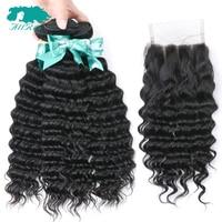 Allrun Peruvian Hair Bundles With Closure Deep Wave Human Hair Weave Bundles With Closure 2/3pc Remy Hair Extension With Closure