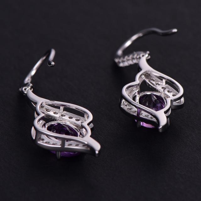 buulooai Real 925 Sterling Silver Amethyst Drop Earrings For Women Gemstone Amethyst Female Earrings Wedding Valentine's Jewelry