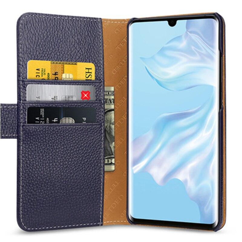 Multi-fonction Portefeuille étui pour Huawei P30 avec Fentes Pour Cartes De Luxe En Cuir Véritable Peau de Téléphone pour Huawei P30 Pro P30 Lite