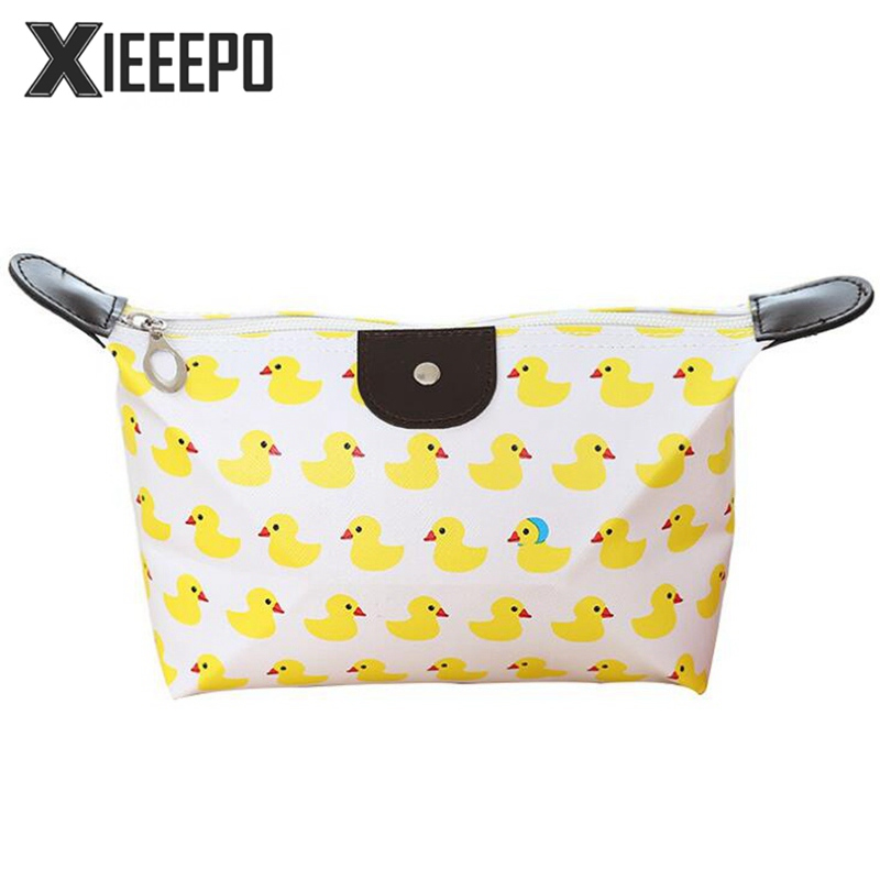 Women Cosmetic Bag Travel Zipper Trunk Makeup Case Animal Prints Duck Make Up Bags Handbag Organizer Storage Pouch Toiletry Bag new women fashion pu leather cosmetic bag high quality makeup box ladies toiletry bag lovely handbag pouch suitcase storage bag