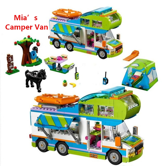 New Good Friends Girl Series Mia's Camper Van Building Blocks Bricks Toys As Children Birthday Gift Compatible with lego 41339 shirly new rest stop dream house building blocks compatible with lego bricks girl s educational toys birthday christmas gifts