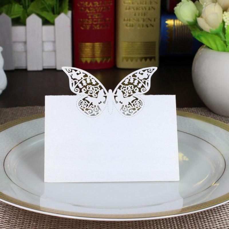 New style100pcs White Butterfly Laser Cut Paper Name Place Card / Escort Card /  Table Card / For Wedding Decoration Favors 1 design laser cut white elegant pattern west cowboy style vintage wedding invitations card kit blank paper printing invitation