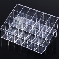 New 24 Transparent Lattice Mini Desktop Cosmetics Container Storage Box For Housekeeping And Organization