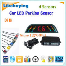 Three BiBi sound Car LED Parking Sensor Kit Backlight Display Radar Head Unit Monitor System 12V 4 Sensors Free Shipping