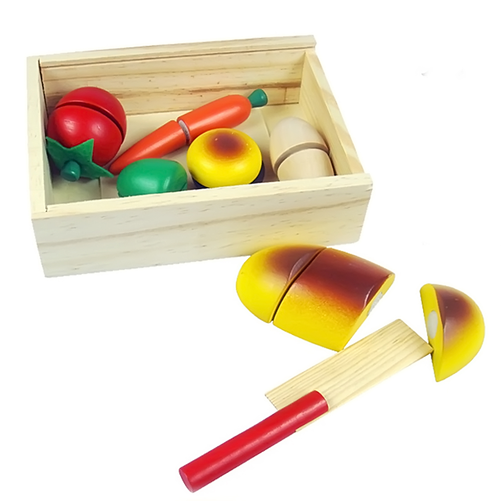 1 Wooden Box of Cutting Fruits and Vegetables Food Play Toy Set for Kids Children Babies