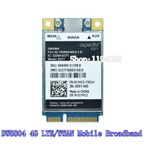Unlocked Wireless DW5804 4G LTE / WWAN Mobile Broadband Access 01YH12 E371 PCI E 3G / 4G Cards WLAN Module WCDMA Modem