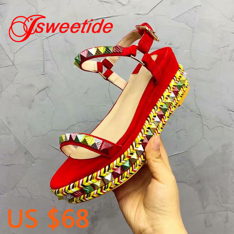 Elegant Buckle Women s Sandals Open Toe Wedge Thick Sole Sandals Female Shoes Women Top Quality