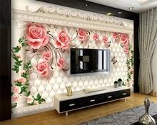 купить Beibehang Custom wallpaper European romantic rose soft bag Roman column TV background walls living room bedroom 3d wallpaper дешево