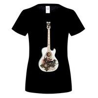 GILDAN Acoustic Guitar Musical Score Women S T Shirt Women Printing Short Sleeve O Neck T