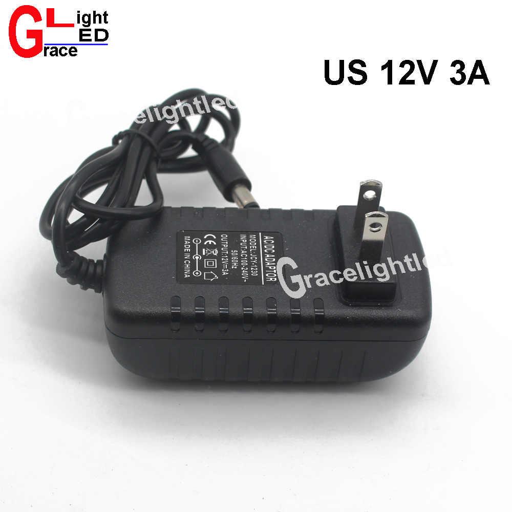 Adaptador de led para carregador, 1 peça ac 90-240v led driver da ue eua para dc 12v 3a 36w adaptador de fonte de alimentação para luz de tira led