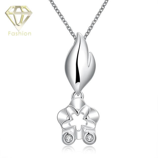 0759726baa07 Contemporain Bijoux Argent Plaqué avec AAA + Cubique Zircon Cristal Exagéré  Fleur Pendentif Colliers Bijoux pour