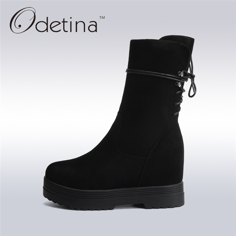 Odetina 2017 New Fashion Women Black Faux Suede Mid Calf Boots Zip High Increase Thick Platform High Heels Wedge Boots Lace Up double buckle cross straps mid calf boots