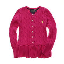 Children New Spring Autumn Pure Cotton Flouncing Sweater 2-6 Years Girl's O-neck Knitted Cardigan Coat FY0034