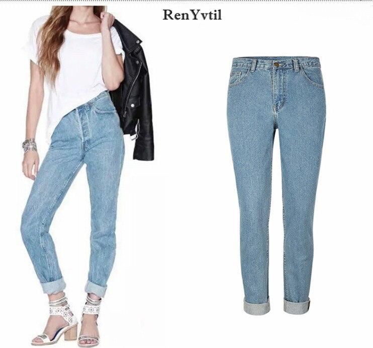 RenYvtil Europe Big Size Woman Jeans New Fashion Straight Women Denim Jeans Water Wash Loose Pants Femme Pantalon Free Shipping