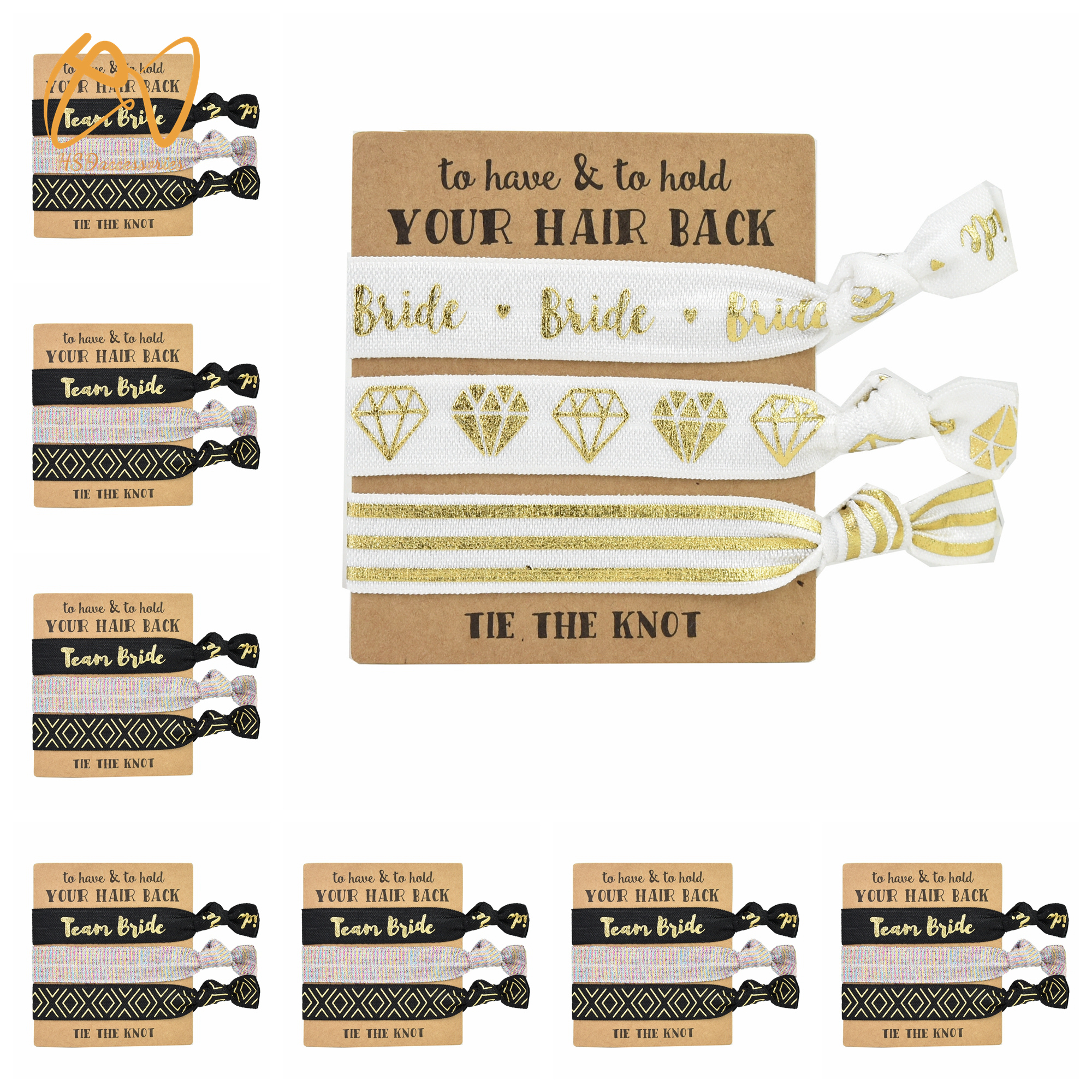 Hsd Accessories Designs 11Pack Of Bachelorette Party Favors 10 Bride Tribe Hair Ties And 1 Bride To Be Hair Tie  Bachelorette