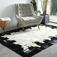 Black and white luxury cowhide fur rug,big size natural cow skin fur carpet for living room decoration villa carpet SALES