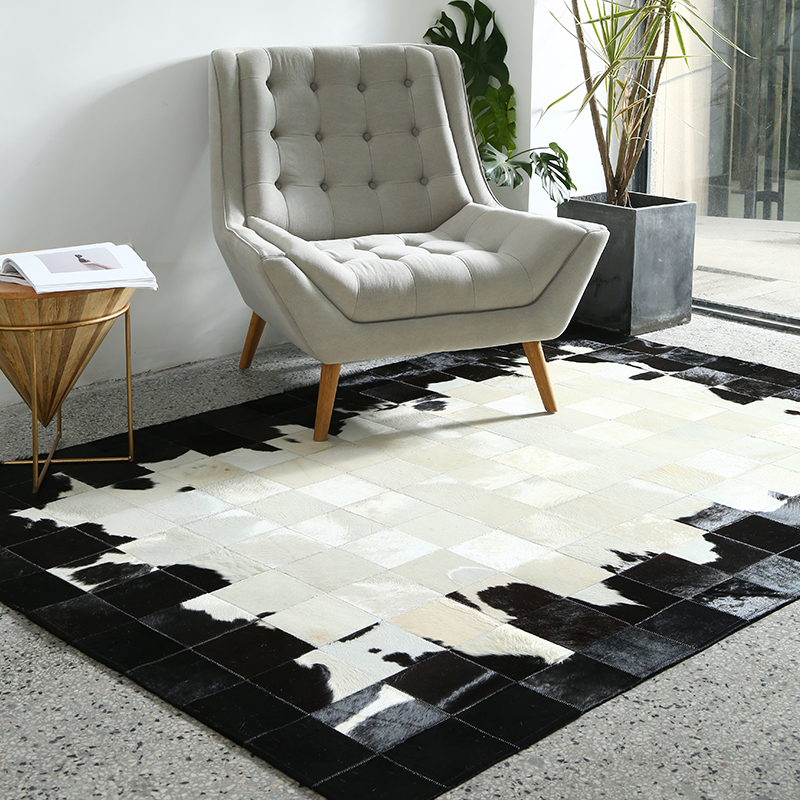 Black And White Luxury Cowhide Fur Rug Big Size Natural