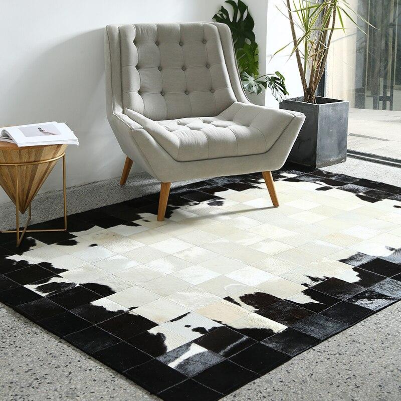 Tapis de fourrure de vache de luxe noir et blanc, tapis de fourrure de peau de vache naturelle de grande taille pour les ventes de tapis de villa de décoration de salon