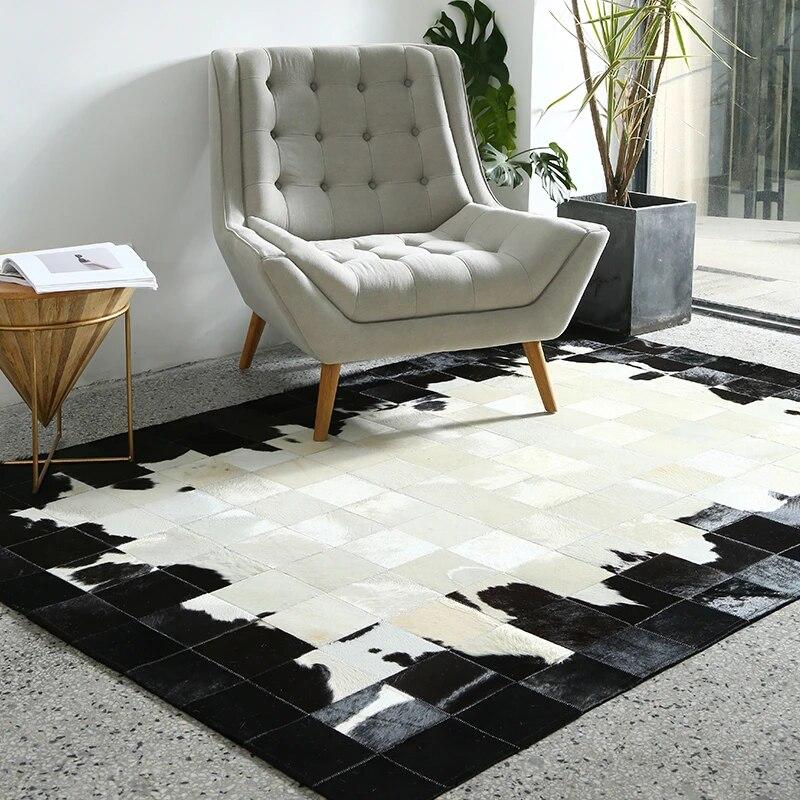 tapis de luxe en fourrure de vache noir et blanc tapis en fourrure de peau de vache naturelle de grande taille pour decoration de salon pour les