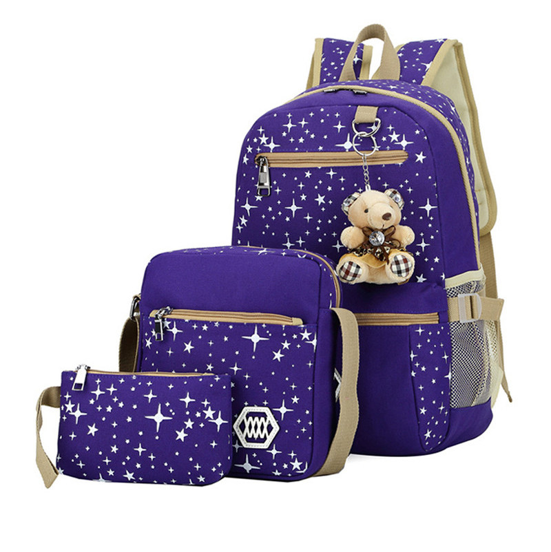(4)3 pièces/ensemble sac à dos sacs d'école