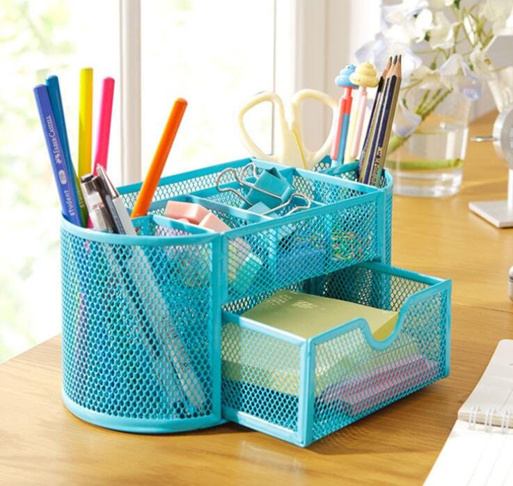 2016 New Blue/Red/Green Stationery Desk Organizer 9 cells Metal Mesh Desktop Office Pen Pencil Holder Study Storage sosw 3 in 1 card office pencil pen pot stationery storage box organizer storage organizer rose red