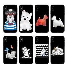 Encantador dos desenhos animados cao Westie Magro caso de telefone de silicone Macio Para iPhone 11 12 6 7 8 Plus Mais X XR Xmax