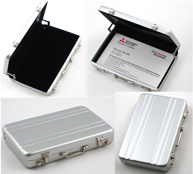 Free shipping New Metal Mini Suitcase Business Bank Card Name Card Holder Case Box Puscard