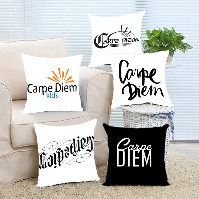 luxury printing popular carpe diem quote black white throw pillows protector zippered pillowcase pillow cover double - Popular Throw Pillows