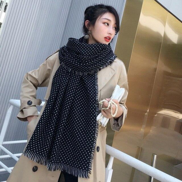 Winter Scarves Women Fashion Black White Polka Dot Pashmina Fringed Brim Shawl Oversized Tippet Ladys Fluffy Cashmere Bufandas