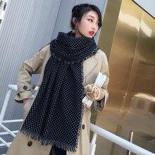 Winter Schals Frauen Mode Schwarz Weiß Polka Dot Pashmina Fransen Krempe Schal Übergroßen Tippet dame Flauschige Kaschmir Bufandas