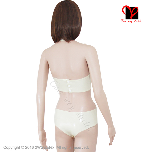 Sexy White Latex Bras Rubber panties Lingerie set Bikini crop top brassiere cropped swimsuits underpants cups top plus size XXXL
