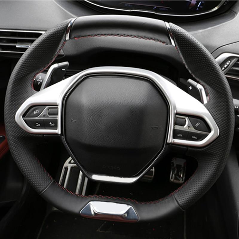 Pour Peugeot 3008 GT 4008 5008 En fiber de Carbone ABS Autocollant Volant Bouton Garniture Décorative Cadre Couverture Accessoires De Coiffure