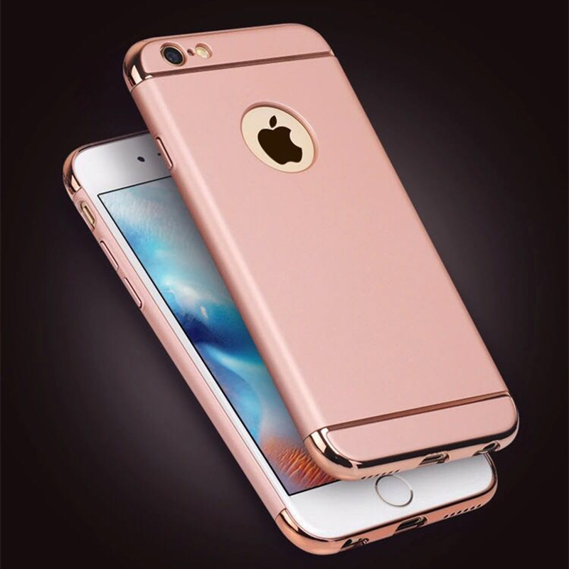 Removable 3 in 1 Anti Knock Black Hard Plastic 360 Back Coverage Full Protection Case for iPhone 6 6s Plus 5 5S SE Shockproof